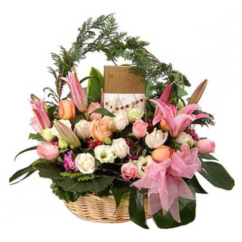 Smooth and Pink Basket with Chocolate and Flora <br/>