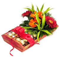 Blissful Combination of Flower and Chocolate Basket<br/>